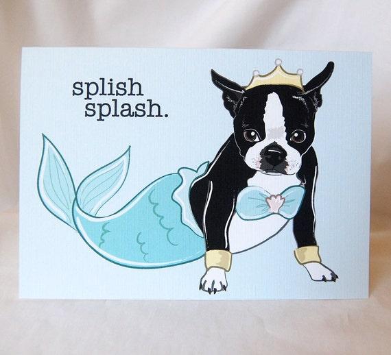 Boston Terrier Splish Splash Greeting Card