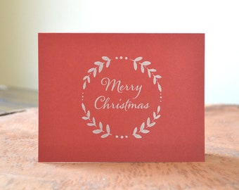 Merry Christmas letterpress holiday cards - set of 12 folded letterpress printed cards