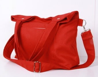 Messenger Bag, Shoulder Bag, Tote Bag ,Diaper bag Red canvas with Cream lining ,adjustable strap ...STREET