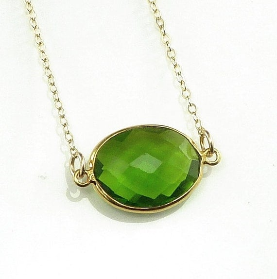 Peridot Green Quartz Necklace 14K Gold Filled Solitaire Gemstone Handmade Minimalistic Fashion August Birthstone