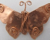 Copper Butterfly Brooch, Copper Shawl Pin, Copper Butterfly Pin.