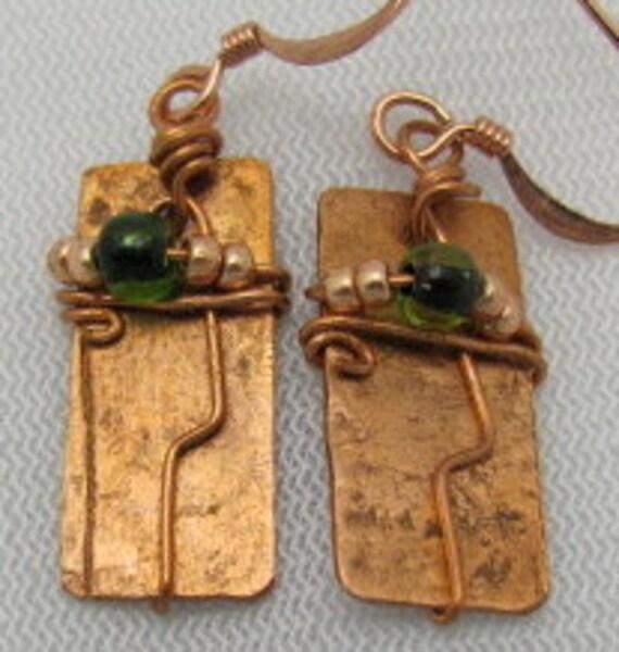 Copper Earrings, Rectangle Earrings, Wire Wrapped Earrings.