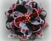 Flower Loop Bow M2MG Polka Dot Ladybug M2M  Custom Print Ribbon and Custom Ladybug Resin