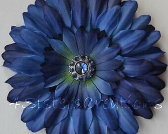 Navy Artificial Flower with Navy Rhinestone Center