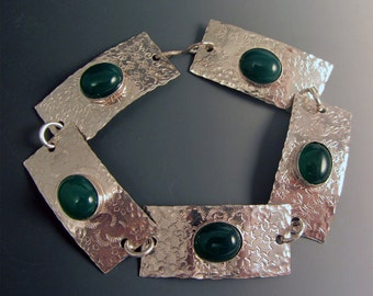 Sterling Silver Green Onyx Bracelet Large 8 1/8""