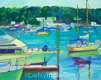 Maine Landscape - Yarmouth, Maine Harbor - Paper - Canvas - Wood Block