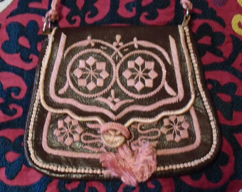 Vintage Hand Embroidered Moroccan Leather Purse Pink Flowers and Tassel on Brown Leather