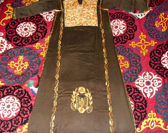 Vintage Moroccan Kaftan Dress Fully Embroidered Gold and Orange Ombre Flowers on Brown Rayon Linen