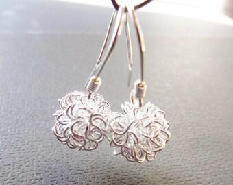 Mini Bubbles Silver Earrings - Wire Ball Earrings, Sterling Silver Earwires- Short Dangle - Leightweight