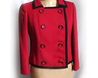 Vintage Red Black Womens Jacket, Jack Feit Red Wool Jacket 1960s, Military Style Red Womans Jacket, 1960s Red DB Jacket Mad Men Era