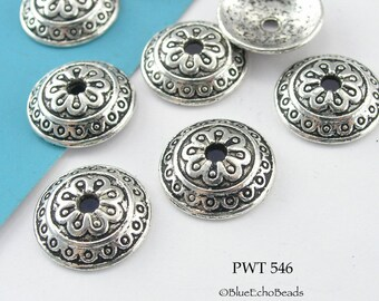 14mm Pewter Bead Caps, Antique Silver, Tyrol (PWT 546) 18 pcs BlueEchoBeads