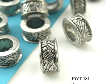 8mm Large Hole Beads Pewter Ring Celtic Braid, Antique Silver (PWT 181) 12 pcs Blue EchoBeads
