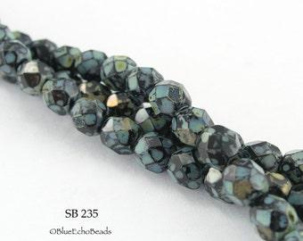 6mm Jet Picasso Czech Faceted Fire Polished Glass Beads (SB 235) 20 pcs BlueEchoBeads