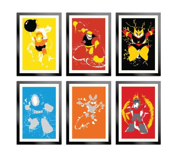Robot Masters of Mega Man 1 Set of 6 Posters