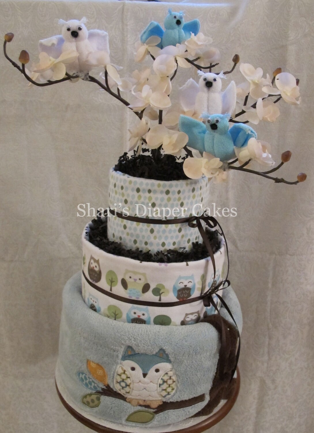 Owl Diaper Cake Decorations : 3-Tier Whoo Loves Ya Baby Owl Diaper Cake Baby