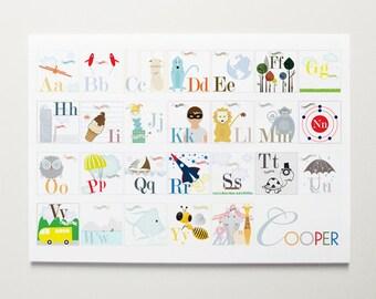 ModernPOP, Custom Nursery Alphabet Art, A-Z Alphabet Print, Alphabet Letters, Boy Alphabet , Girl Alphabet, Toddler Art