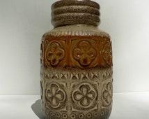 vintage 1970s west germany floral geometric vase hand painted beige and brown / mid century vase