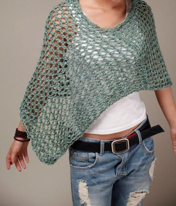 Little cotton poncho in Fall Green