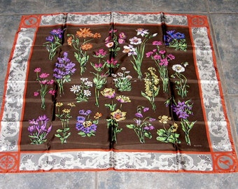 Vintage Gucci Silk Scarf  Flowers Thistle Border Antelope Neckscarf 31 inches