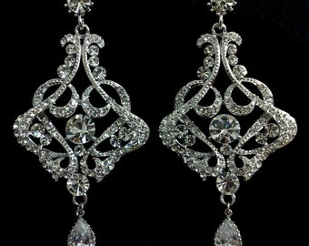 Art Deco Bridal Earrings, Statement Wedding Earrings, Victorian Wedding Jewelry, Chandelier Bridal Jewelry, CARMEN