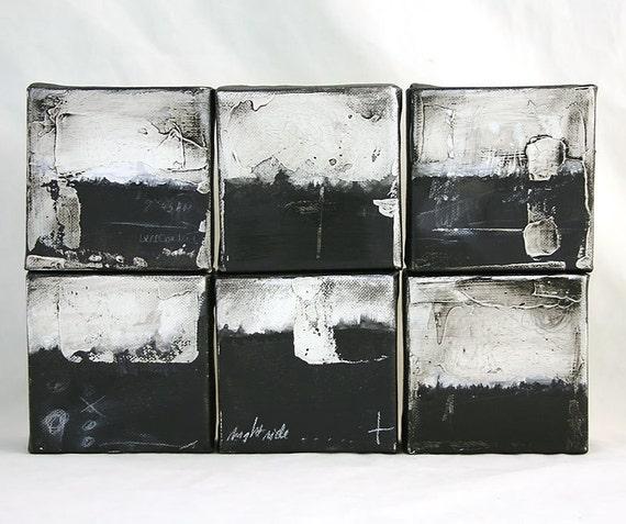 Night ride - set of 6 original mixed media abstract landscapes