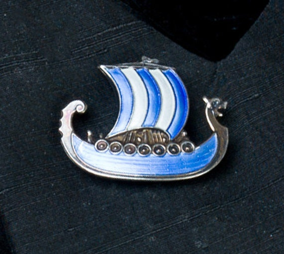Ivar Holth - Norway Sterling Viking Ship Sailboat - 60s Pin Brooch