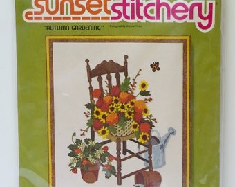 Sunset Stitchery Autumn Gardening Stitchery Kit 2388 Donna Yuen Vintage 80s