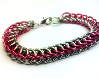 Pink and Silver Anodized Aluminum Half Persian 4in1 Bracelet