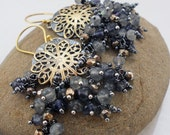 oO RESERVED Oo Sterling silver, brass, labradorite, iolite and golden pyrite mixed metal earrings - Beautiful Storm -