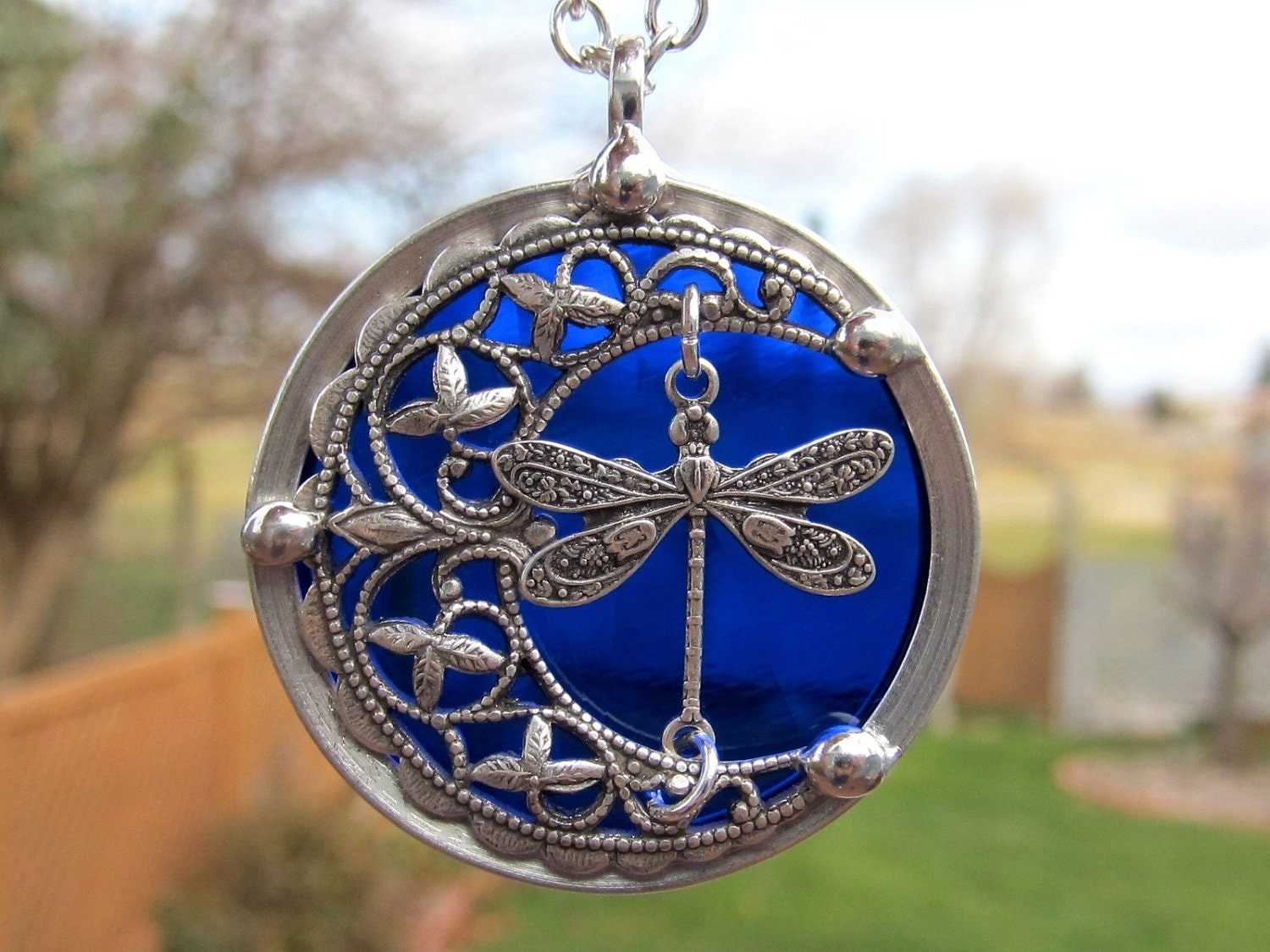 Stained Glass Pendant Necklace Crescent Moon With By