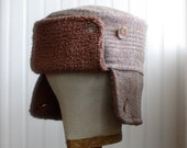 Russian hat made with upcycled brown plaid wool: mens furry russian, womens furry russian - medium