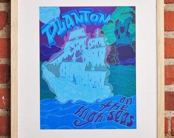 Phantom on the High Seas : Letterpress Linocut Ghost Pirate Pulp Fiction