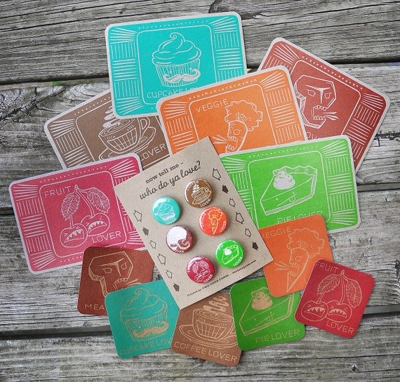 Lovers Series Letterpress COMBO Pack - Postcards, Stickers, Buttons -
