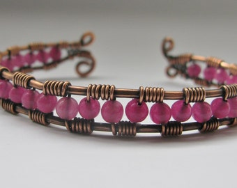 Copper Wire Wrapped Cuff Bracelet with Fuchsia Agate