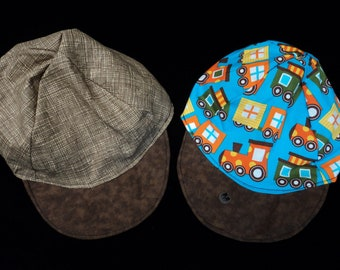 Reversible Trains Baseball hat sizes newborn to adult