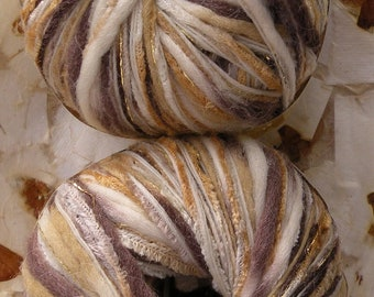Yarn bulky soft wool metallic, 2 skeins Katia Lulu off-white gold beige tan brown cream gray peach purple chunky Life's an Expedition yarn
