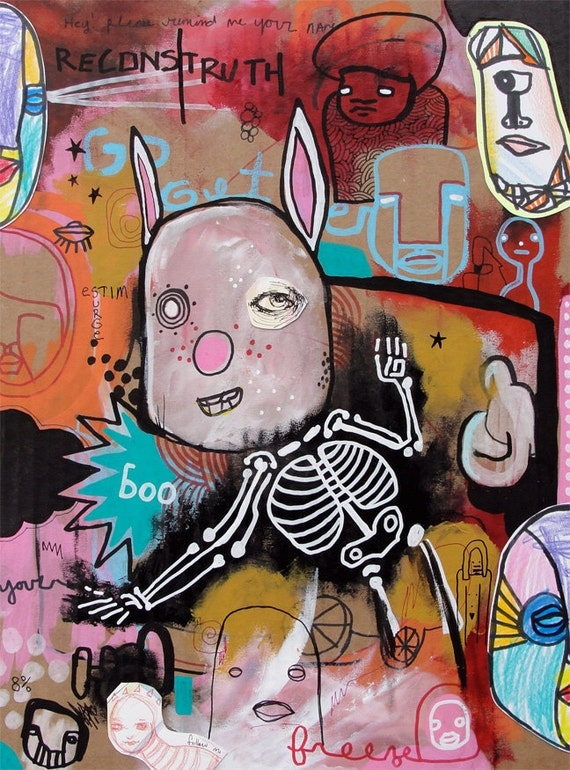 Boo Freeze - Original Mixed Media Painting