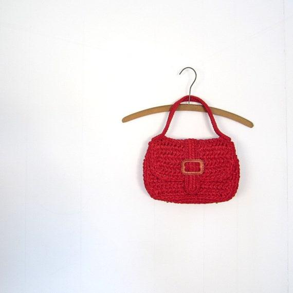 Vintage 1960s Bag / Red Raffia Purse / 60s Handbag / Garay