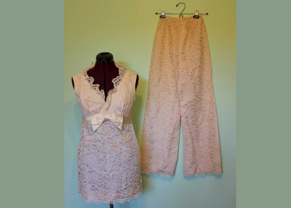 60s cream white lace blouse and pants set satin bow