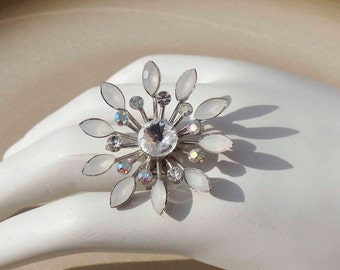 Flower Crystal Ring adjustable band Swarovski crystal