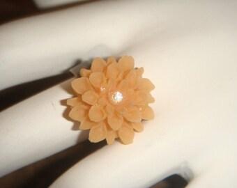 Antiqued Brass Adjustable Orange Flower Ring with swarovski Crystal