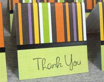 Halloween Stripes Mini Thank You Cards 2x2 (6)