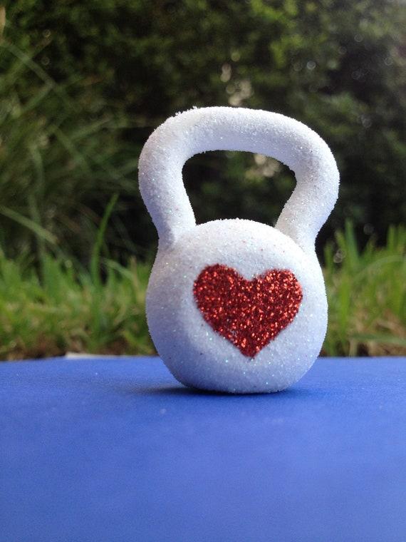 Custom Order for Jamie - Heart Glitter Kettlebell Ornament