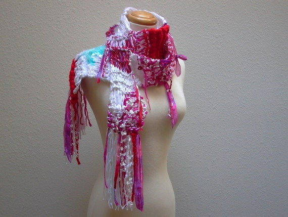 lipstick on your collar. hand knit scarf whimsical  winter knitwear fashion accessories white red hot pink aqua blue ribbon scarf