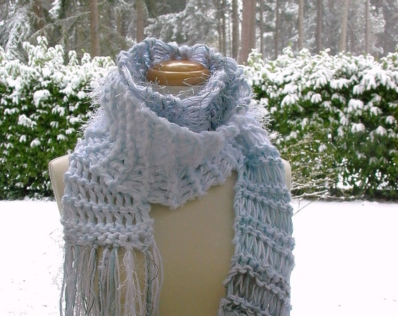 frostbite. winter wonderland knitted scarf vegan knitwear cold weather accessories snow white frost pale ice blue shimmering silver gray