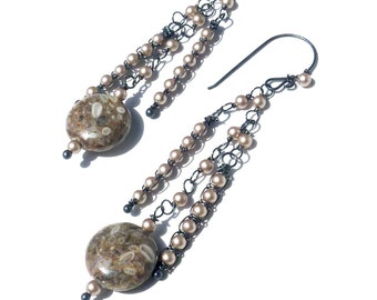 Cowry Shell and Pearl Earrings - Oxidized Sterling  - One of a Kind - Tagt - Free Shipping
