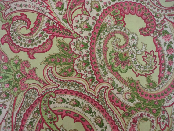 Reserved, Reserved For Tonya, Cotton Fabric, Flowers, Paisley, Shabby Chic, Pink, White, Green 2 Yards