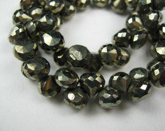 Faceted  Pyrite Faceted Onion Briolettes. 6mm.  Packet of 4 ...  (LPYB3). Reduced from 6.20