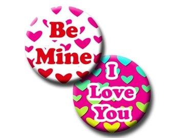 Valentine Digital Download Sheet   1 Inch Round Circle Valentine Sayings    Hearts   I Love