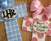 Personalized boy or girl ceramic cross monogram or name wall art blue or pink or custom